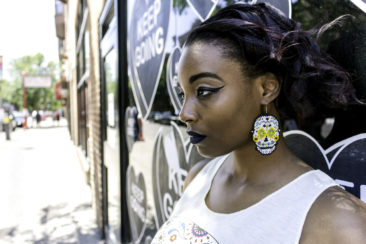 Sugar skull beaded earrings from Guatemala, $19. Photo by Jessica Laudicina. Makeup by Ana Trainor. Jewelry styling by Carole Shields. Model: Salina Miller.