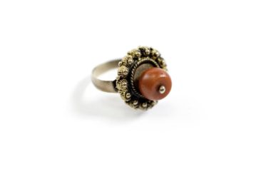 Coral and gold ring, $330. Photo by Jessica Laudicina.