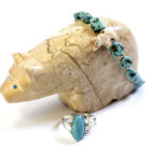 Turquoise and silver bracelet, $48; Turquoise and silver ring, $38.50. Photo by Jessica Laudicina.