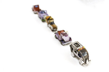 Tin cars made in Mexico, $5.50 each. Photo by Jessica Laudicina.