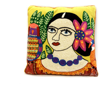 Frida Kahlo embroidered pillow, $52. Photo by Jessica Laudicina.