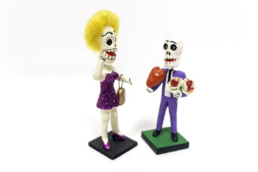 Day of the Dead Valentines figurines, $19 each.