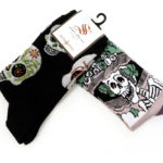 Sugar skull and Catrina socks, $8 each. Photo by Jessica Laudicina.