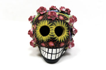 Day of the Dead ceramic sugar skull with flowers, $59. Photo by Jessica Laudicina.