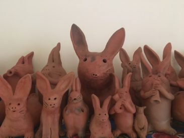 Ceramic bunnies at a market in Oaxaca made by Ernesto Vasquez Reyes, father of Angelica Vasquez Cruz