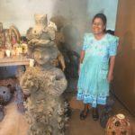 Irma Blanco with her ceramic sculptures in Santa Maria Atzompa, Oaxaca.