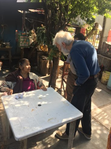 Isaiah Zagar speaks to Josefina Aguilar in Ocotlan, Oaxaca