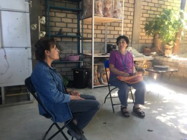 Julia Zagar talks with Angelica Vasquez Cruz in Santa Maria Atzompa, Oaxaca