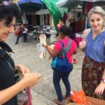 Julia Zagar and Emily Smith at a market in Oaxaca