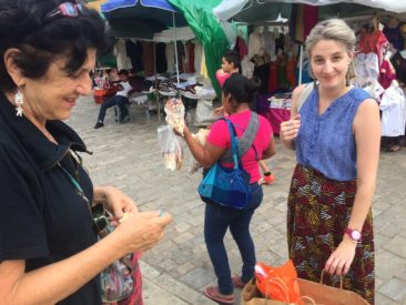 Julia Zagar and Emily Smith at a market in Oaxaca