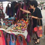 Julia buying bags in Oaxaca City