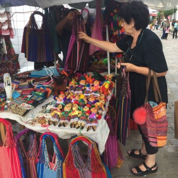 Julia buying bags in Oaxaca City
