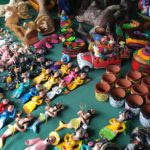 Various folk art items at a market in Mexico City
