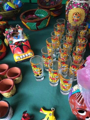 Ceramics and glassware at a market in Mexico City