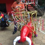 A craftsman preparing fireworks sculpture