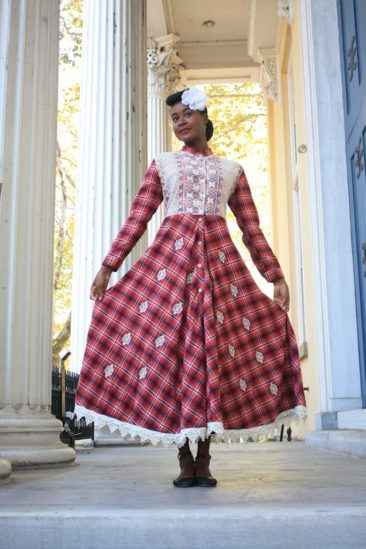 Red plaid flannel dress/duster coat by MEENA MAHAL, $172. Photo by Duncan Brittin.