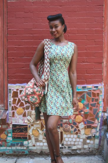 Deer dress by SM WARDROBE, $41. Handwoven Wayuu bag from Colombia, $125.