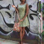 Deer dress by SM WARDROBE, $41. Handwoven Wayuu bag from Colombia, $125.