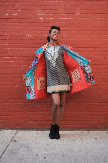 Recycled Kantha-stitched jacket, $236, by TULIP. Indian tunic by SEVYA, $62.50. Photo by Duncan Brittin.