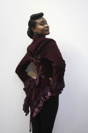 HEARTS & ROSES purple velvet and lace corset jacket, $60. Photo by Duncan Brittin.