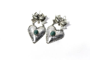 Sterling silver bird and heart earrings, $210. Photo by Jessica Laudicina.