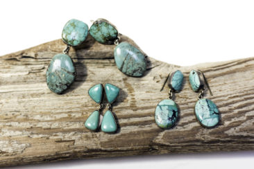 Turquoise and silver earrings from Mexico.  From top left: $125, $96, $76.50. Photo by Jessica Laudicina.