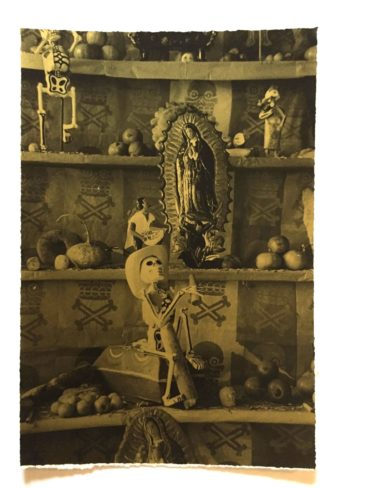 "Damini Celebre, ""Altar,"" Photograph on gold paper, $100."
