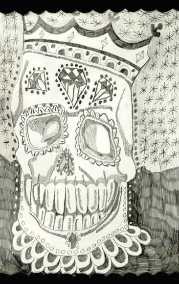 "Dwayne Boone, ""King Dracula Skull,"" pencil on paper, $225."