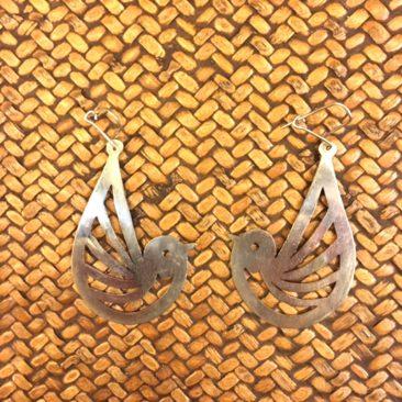 """Silver Mapuche bird earrings, 2.5"""" x 1.25"""", $32."""