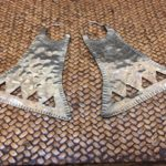 Large hammered silver earrings, $110