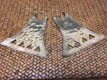"Large Mapuche hammered silver earrings, 3.75"" x 2.25"", $110."