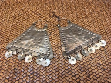 "Large Mapuche hammered silver earrings, 3.5"" x 3.25"", $110."