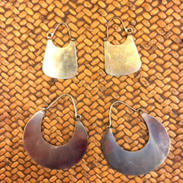 "Mapuche earrings, top: 1.5"" x .75"", $28, and bottom: 1.75""  1.5"", $38."