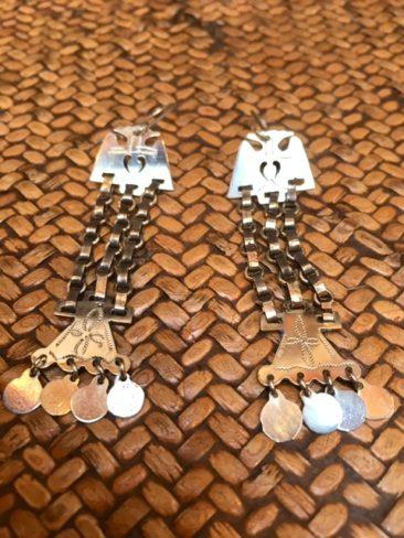 """Mapuche chain -inked earrings, 3"""" x .5"""", $48."""