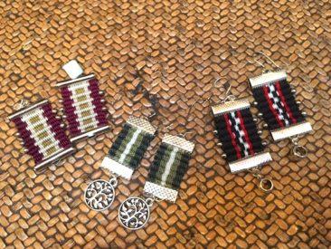 """Mapuche woven earrings, 2"""" x .75"""",  $26.50."""