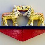 Audrey Jakab and Alejandro Berlin, 2 Tigers, wood figures, wood blocks, paint, $85