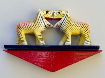 Audrey Jakab and Alejandro Berlin, 2 Tigers, wood figures, wood blocks, paint, $85
