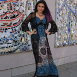 Indian rayon dress by CULTURE SHOP, $57.50; Black lace duster coat by ONE THE LAND, $43, Ayala Bar fabric and crystal necklace, $136, Firefly earrings, $50