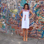 Embroidered Mexican dress, $160, sterling heart milagro earrings, $285