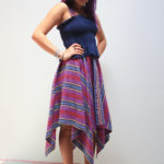 Navy tube top by COTTON CANDY LA, $23; Striped skirt form the Philippines, $95
