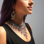 Pewter chainmail necklace, $43.50; CHANOUR Turkish earrings, $20