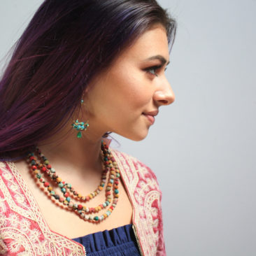 Recycled kantha necklace by WORLD FINDS, $28; Indonesian glass bead earrings, $22