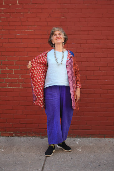 Reversible Malibar jacket by MARKETPLACE, $148;  FLAX fresh top in aqua, $72; FLAX floods in viola, $68; Tibetan coral and turquoise earrings, $28; Guatemalan antique coin necklace, $315.
