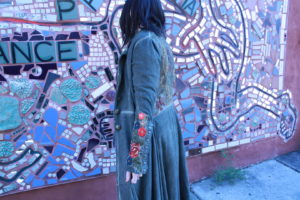 ARATTA olive coat with floral embroidery, $164