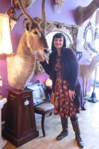 EFFIE'S HEART Louisa dress in photograph print, $110; ANGIE burgundy/black tweed sweater coat, $59; SHIR ALEAH pleather purse in rust, $54