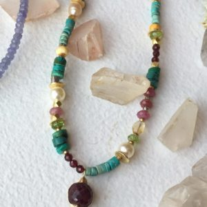 Multigem Vermeil Necklace by Anne Vaughan