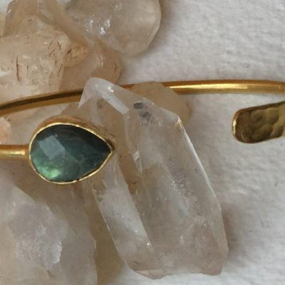 Hammered Labradorite Gold Wash Bracelet
