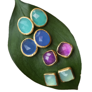 Vermeil Gemstone Stud Earrings
