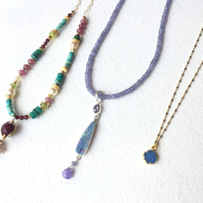 Sterling Silver Beaded Tanzanite and Opal Necklace