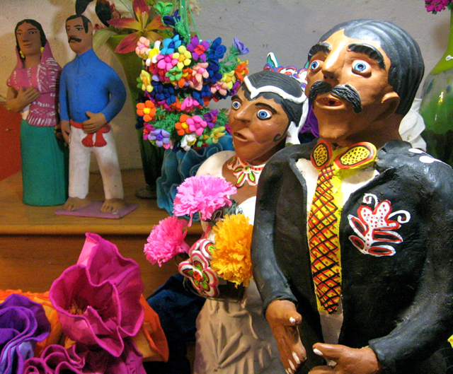 Ceramics Mexico Folk Art Bride and Groom Wedding Marriage Figures Statues